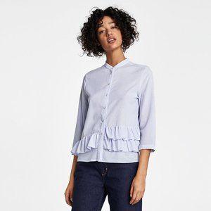 ZARA Striped Shirt with Ruffles